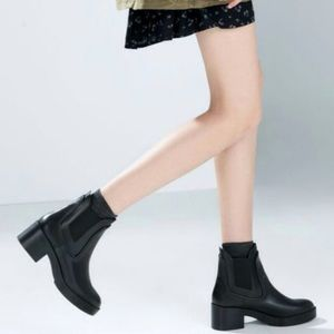 Zara Rubber Leather Elastic Ankle Chelsea Boot 38